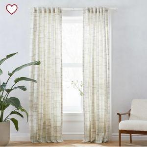 NWT West Elm Cotton Canvas Etched Grid Curtains